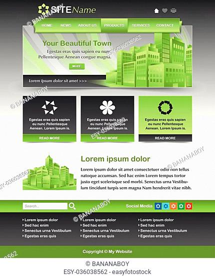 Easy customizable green and dark grey website template layout