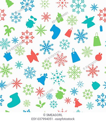 Illustration Christmas Seamless Pattern with Traditional Elements - Vector