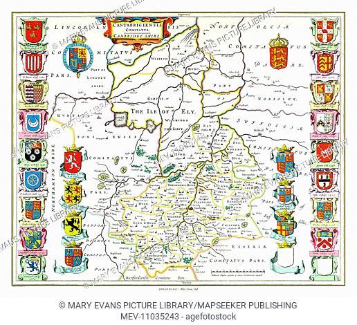 Map of Cambridgeshire by Johan Blaeu