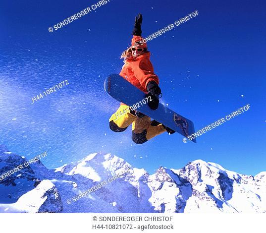 winter sports, winter, Snowboarding, jump, action, woman, snowboard, Snowboard, Bernina region, Engadine, Piz Bernina