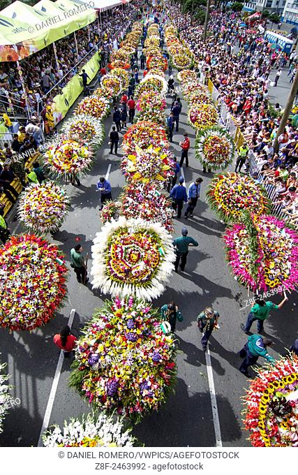 Parade of the silleteros in the city of Medellin, Colombia. Celebrated in august. Peasants loading flowers on your back. Portrait Silletera