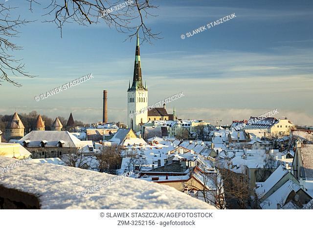 Winter morning in the old town of Tallinn, Estonia