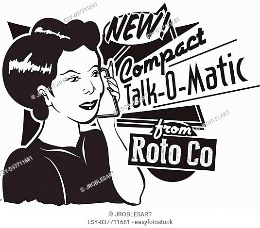 Retro Vintage Cell phone advertisement from the 50's