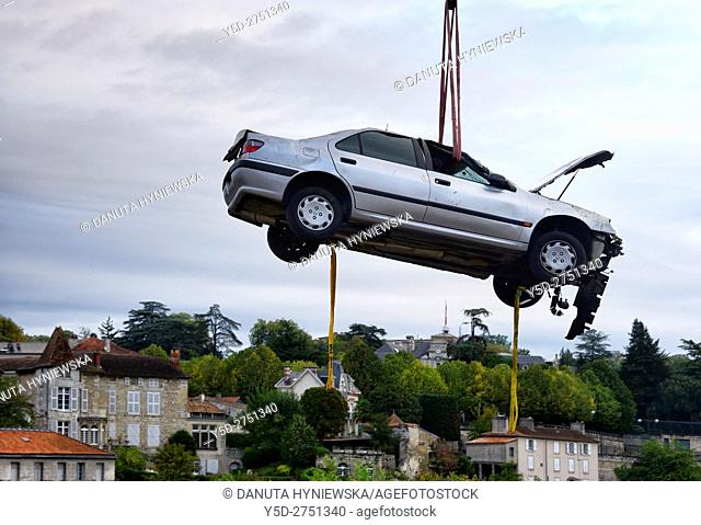 crane lifting of crashed car, Perigueux, Aquitaine, France , Europe