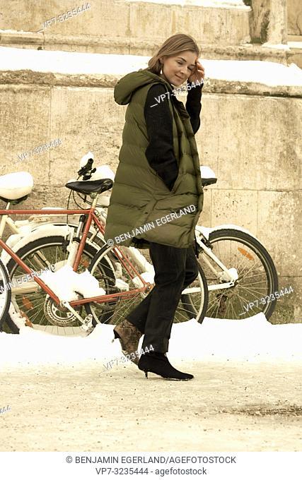 fashionable German blogger woman, in Munich, Germany