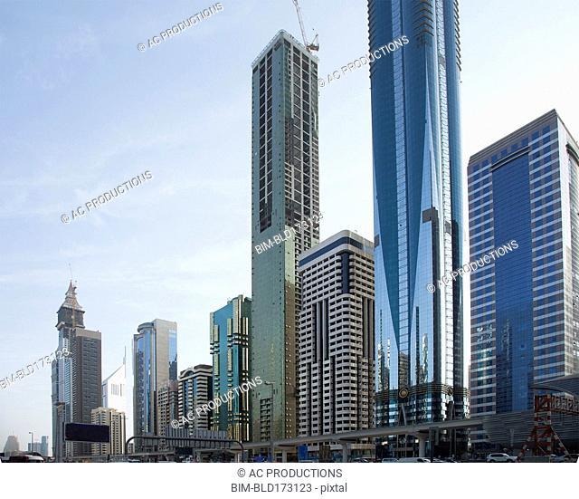 Highrise buildings in Dubai cityscape, Dubai Emirate, United Arab Emirates