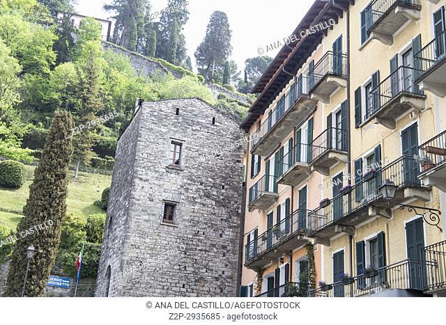 Bellaggio in Lago di Como lake in Lombardy Italy. Medieval tower