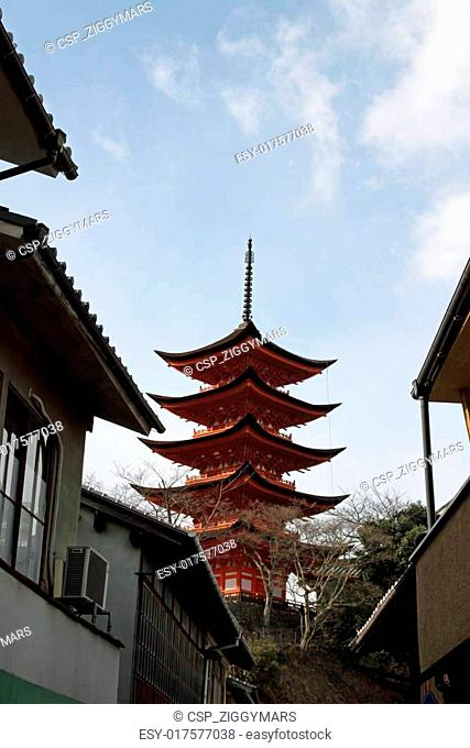 Five story pagoda of Itsukushima Shrine in Japan