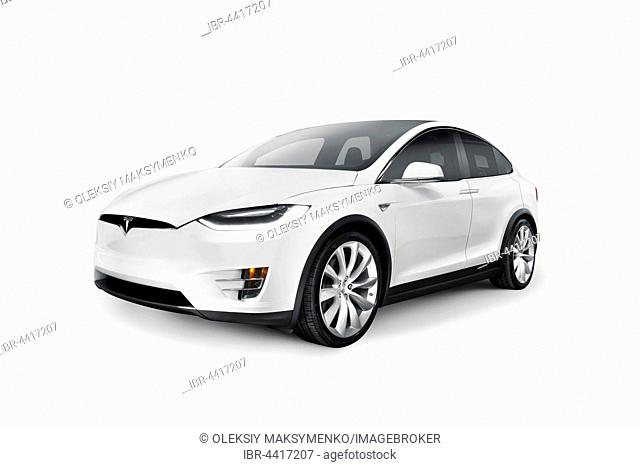White 2017 Tesla Model X luxury SUV electric car