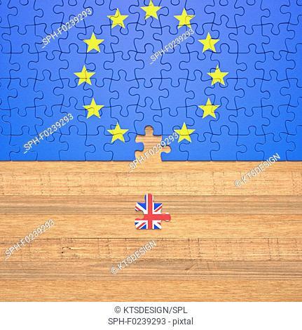 Brexit jigsaw puzzle, illustration