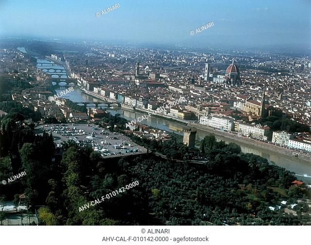 Aerial view of the Piazzale Michelangelo and a section of the Arno River, Florence, shot 2002 by Tradii, Andrea