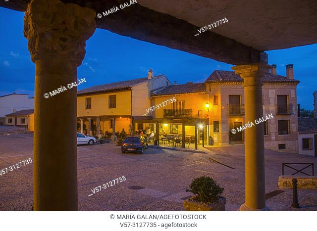 Plaza Mayor, night view. Hita, GUadalajara province, Castilla La Mancha, Spain