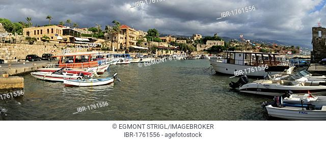 Fishing boats in the harbour of Byblos, Unesco World Heritage Site, Jbail, Jbeil, Lebanon, Middle East, West Asia