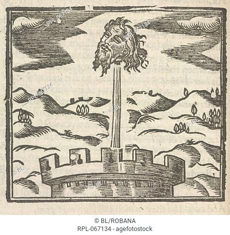 The severed head of Guy Fawkes, the Gunpowder Plot conspirator, above a tower. Image taken from Mischeefes mysterie London 1617