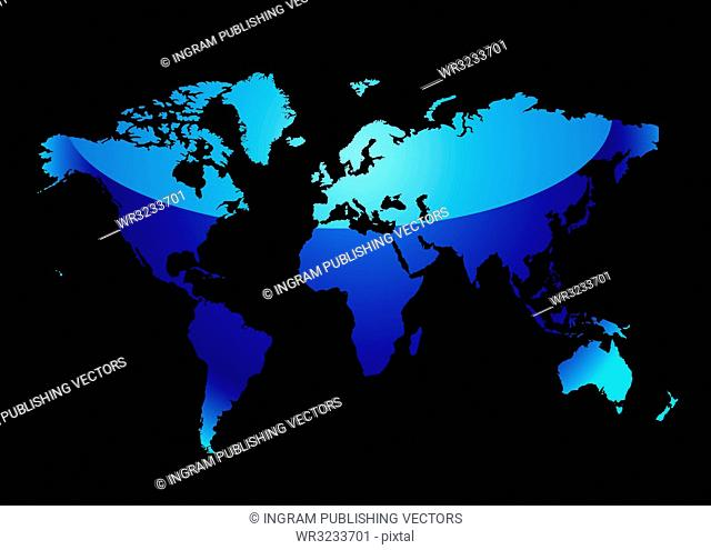 Blue world map with light reflection and black background