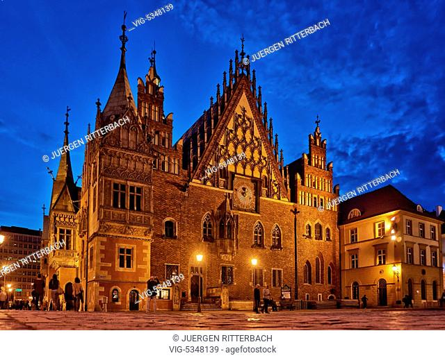night shot of historical City hall on Market Square or Ryneck of Wroclaw, Lower Silesia, Poland, Europe - Wroclaw, Poland, 25/06/2015