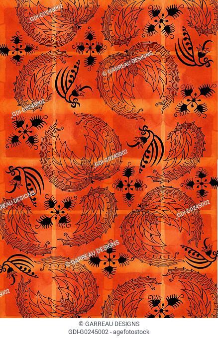 Sago palm design on orange background