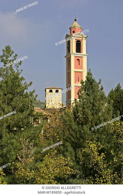 italy, lombardia, oltrepò pavese, varzi, chiesa dei rossi and torre malaspina or torre delle streghe