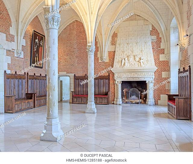France, Indre et Loire, Loire Valley listed as World Heritage by UNESCO, Amboise, Royal castle of Amboise, the chimney of the King's Council Room