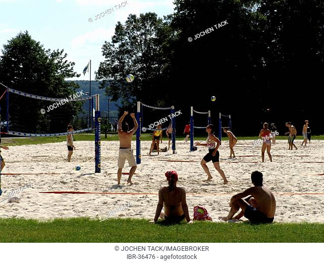 DEU, Germany, Essen : Baldeneysee lake, river Ruhr. Artificial sand beach for chilling and fun at the Ruhr shore. Seaside Beach Baldeney