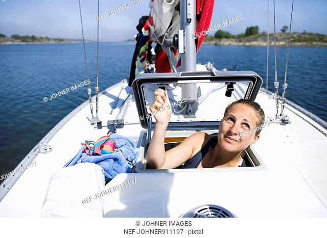 Woman on a sailing-boat, Sweden