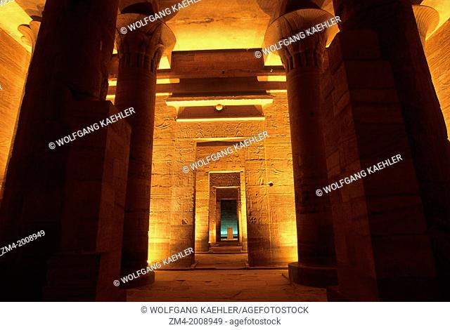 EGYPT, ASWAN, NILE RIVER, AGILKIA ISLAND, PHILAE, TEMPLE OF ISIS, INTERIOR