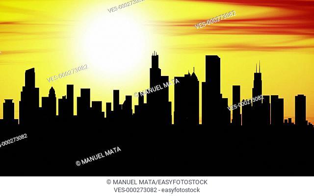 Animation of Chicago skyline city at sunset, timelapse