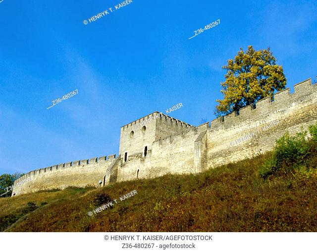 Medieval wall around picturesque, Szydlow of Poland