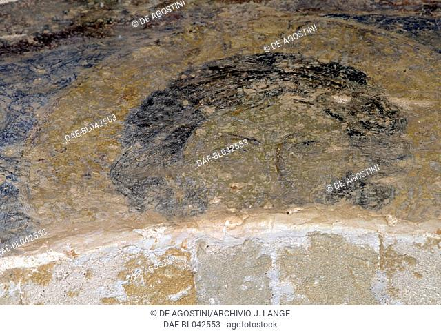 Fresco depicting a saint's face, Byzantine church of Agia Sophia, Monemvasia, Peloponnese. Greece, 13th century