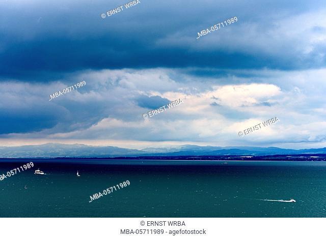 View at Lake of Constance, dark clouds, Überlinger lake with Meersburg, Baden-Wurttemberg, Germany
