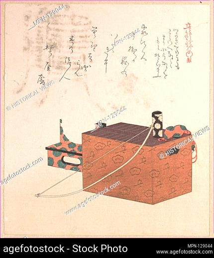Box for Sugoroku Game (A Kind of Backgammon), Bow and Drum. Artist: Kubo Shunman (Japanese, 1757-1820); Period: Edo period (1615-1868); Date: 19th century;...