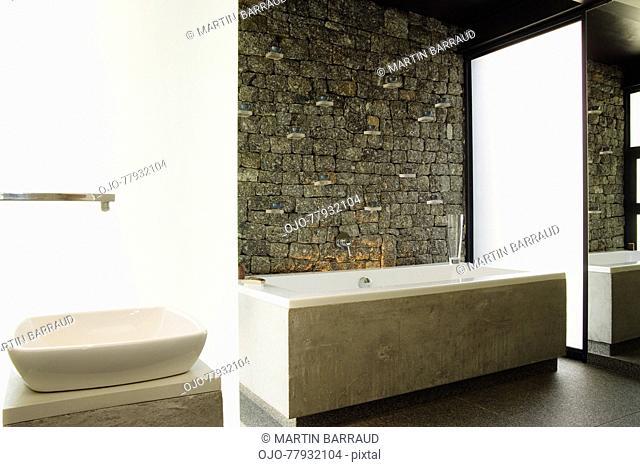 Modern bathroom bathtub and sink
