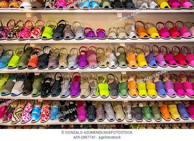 Abarca sandals shop. Traditional shoes in Minorca. Mahón City. Maó Municipality. Menorca Island. Balearic Islands. Spain
