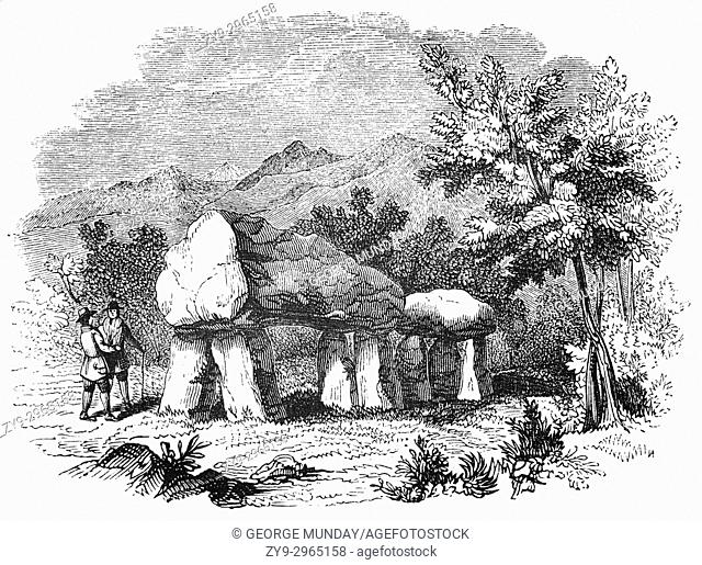 A cromlech; dolmens or portal tombs erected in the Neolithic period between 3700-3500 BC at Plas Newydd on the Isle of Anglesey aka Mona; a stronghold of...