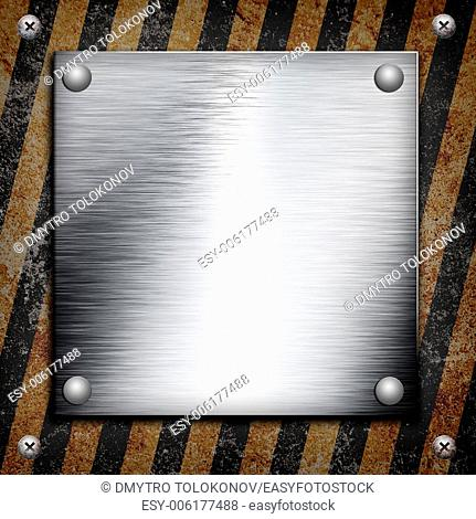 Industrial grungy steel plate with black and yellow strip under aluminum shape