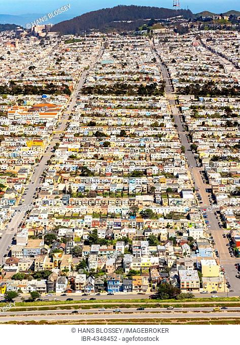 Aerial view, small detached, single-family houses at Doelger City, Outer Sunset, suburban district in the west of San Francisco, San Francisco