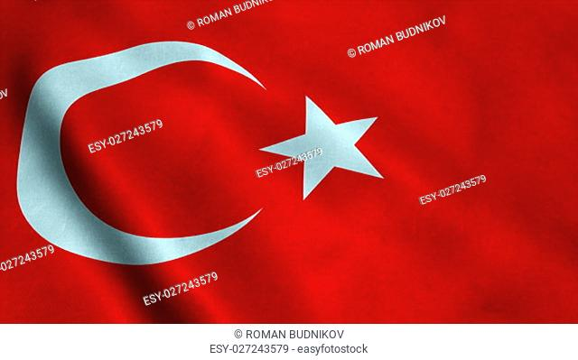 Realistic Ultra-HD flag of the Turkey waving in the wind. Seamless loop with highly detailed fabric texture. Loop ready in 4k resolution