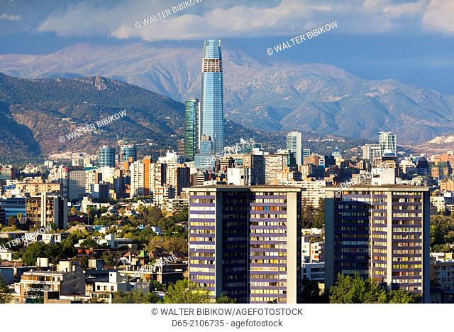 Chile, Santiago, elevated city view towards the Gran Torre Santiago, dusk