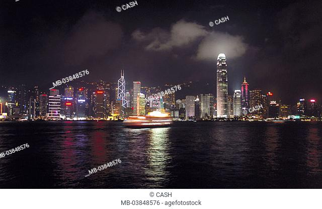 China, Hong Kong Iceland, Victoria, Central District, skyline, night, Asia, city, city, city-opinion, bay, Victoria Harbour, buildings, high-rises, skyscrapers