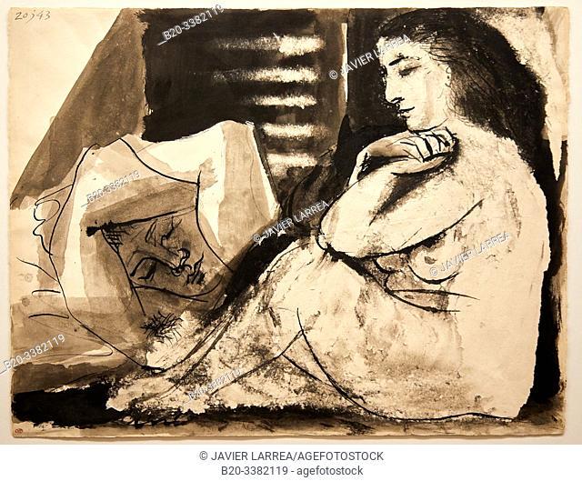 """""""Femme nue assise contemplant un homme endormi"""", 1943, Pablo Picasso, Picasso Museum, Paris, France, Europe"""