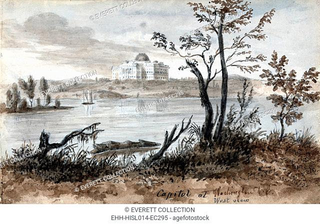 Washington D.C. West view of the Capitol. Watercolor by Augustus Kollner. 1839
