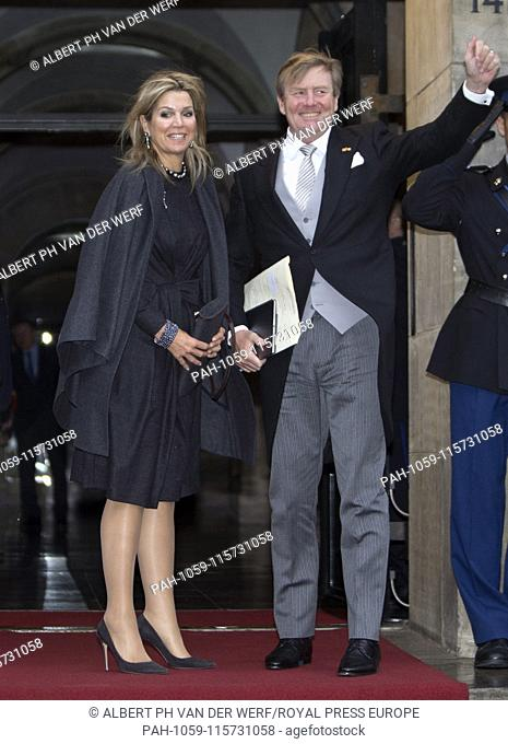 King Willem-Alexander and Queen Maxima of The Netherlands arrive at the Royal Palace in Amsterdam, on January 16, 2019, to attend the annual New Year's...