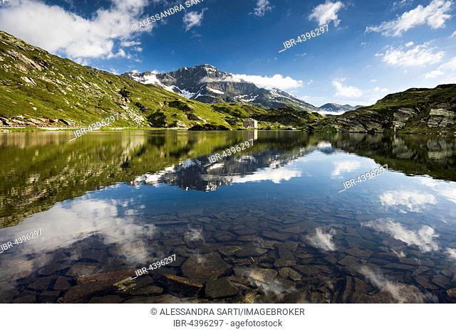 San Bernardino Pass with water reflection, Grison Alps, Graubünden Canton, Switzerland