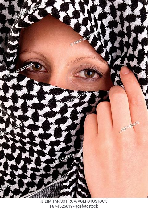 Woman from the Middle East whit niqab veil