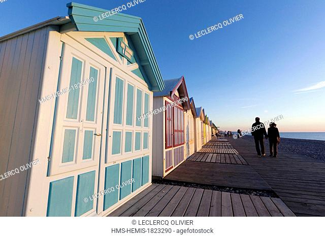 France, Somme, Baie de Somme, Cayeux sur Mer, a seaside resort popular with its pebble beach and 400 beach huts