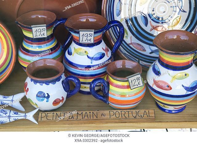 Pottery Jug Souvenirs in Gift Shop; Loule; Algarve; Portugal