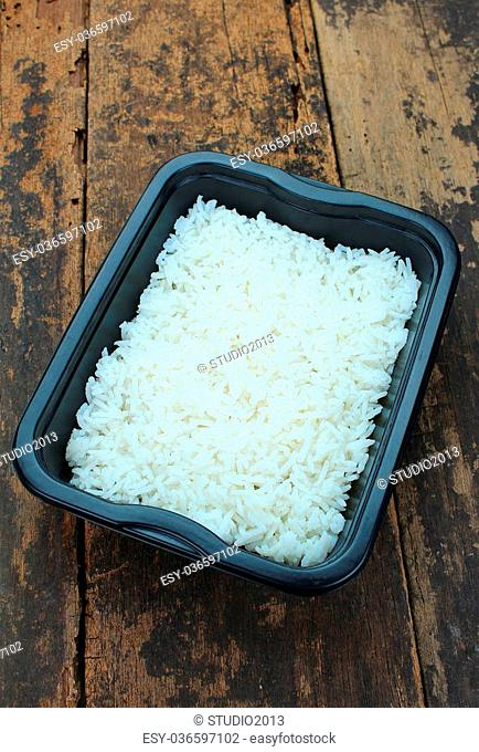 Takeaway cooked rice in a meal box