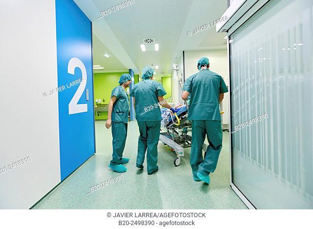 Transfer the patient to the operating room, Ambulatory Surgery, Hospital Donostia, San Sebastian, Gipuzkoa, Basque Country, Spain