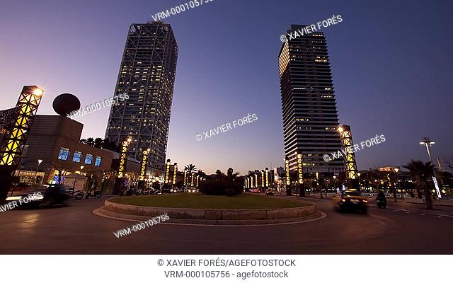 Mapfre tower and Hotel Arts in Barcelona, Spain