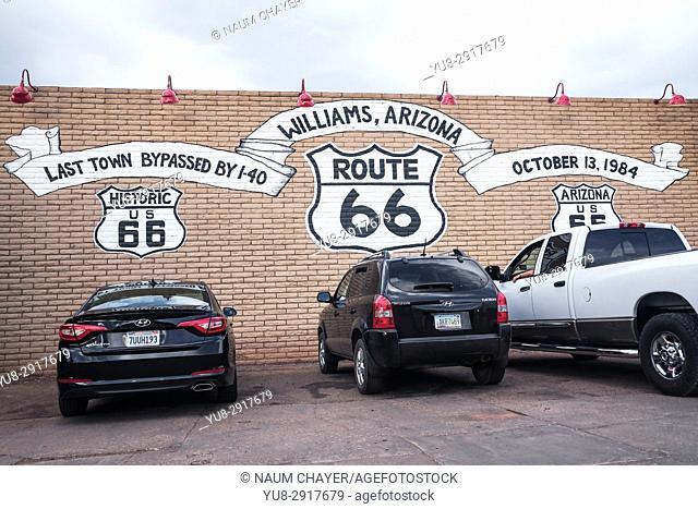 Wall Mural, AZ Route 66, City of Williams, Arizona, USA